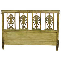 Circa 1920's French Carved and Distress Painted Queen Size Bed Headboard