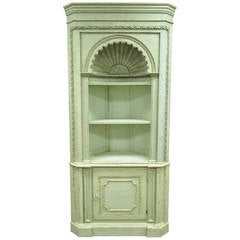 Distressed 20th C. Shell Carved Country French Style Corner Cabinet Cupboard