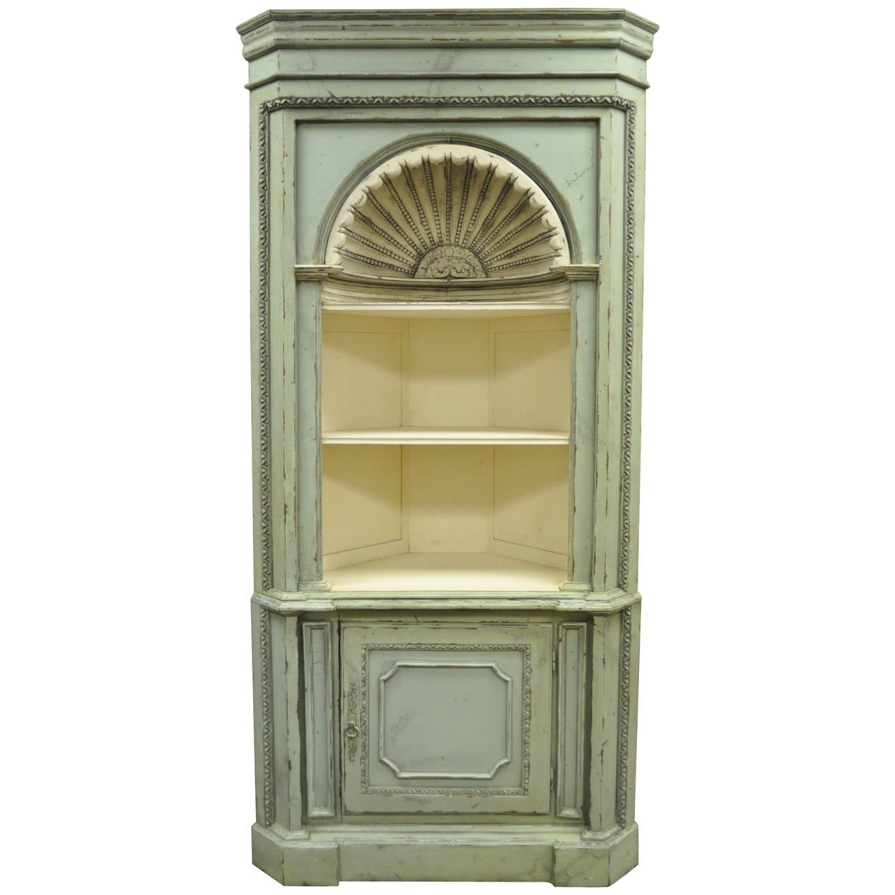 Antiqued 20th C. Shell Carved Country French Style Corner Cabinet Cupboard  For Sale