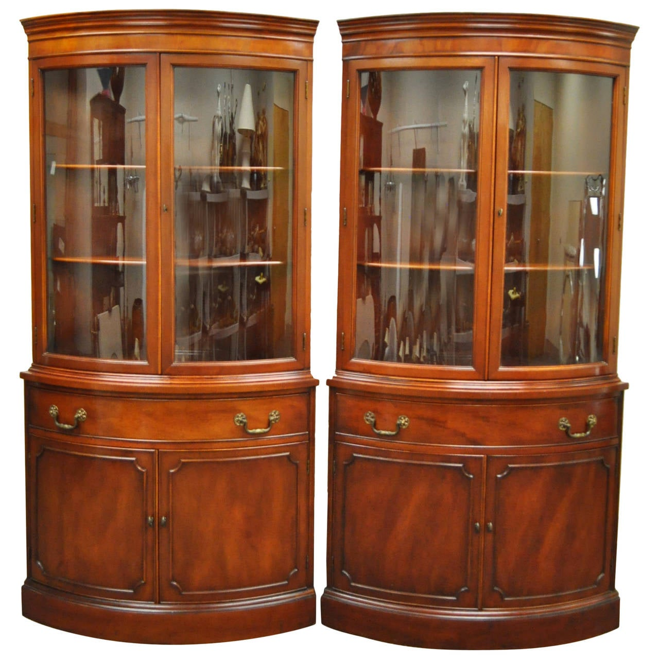 Pair Of 1940s Curved Gl Demilune Form Mahogany Corner China Cabinets For