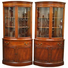 Pair of 1940s Curved Glass Demilune Form Mahogany Corner China Cabinets