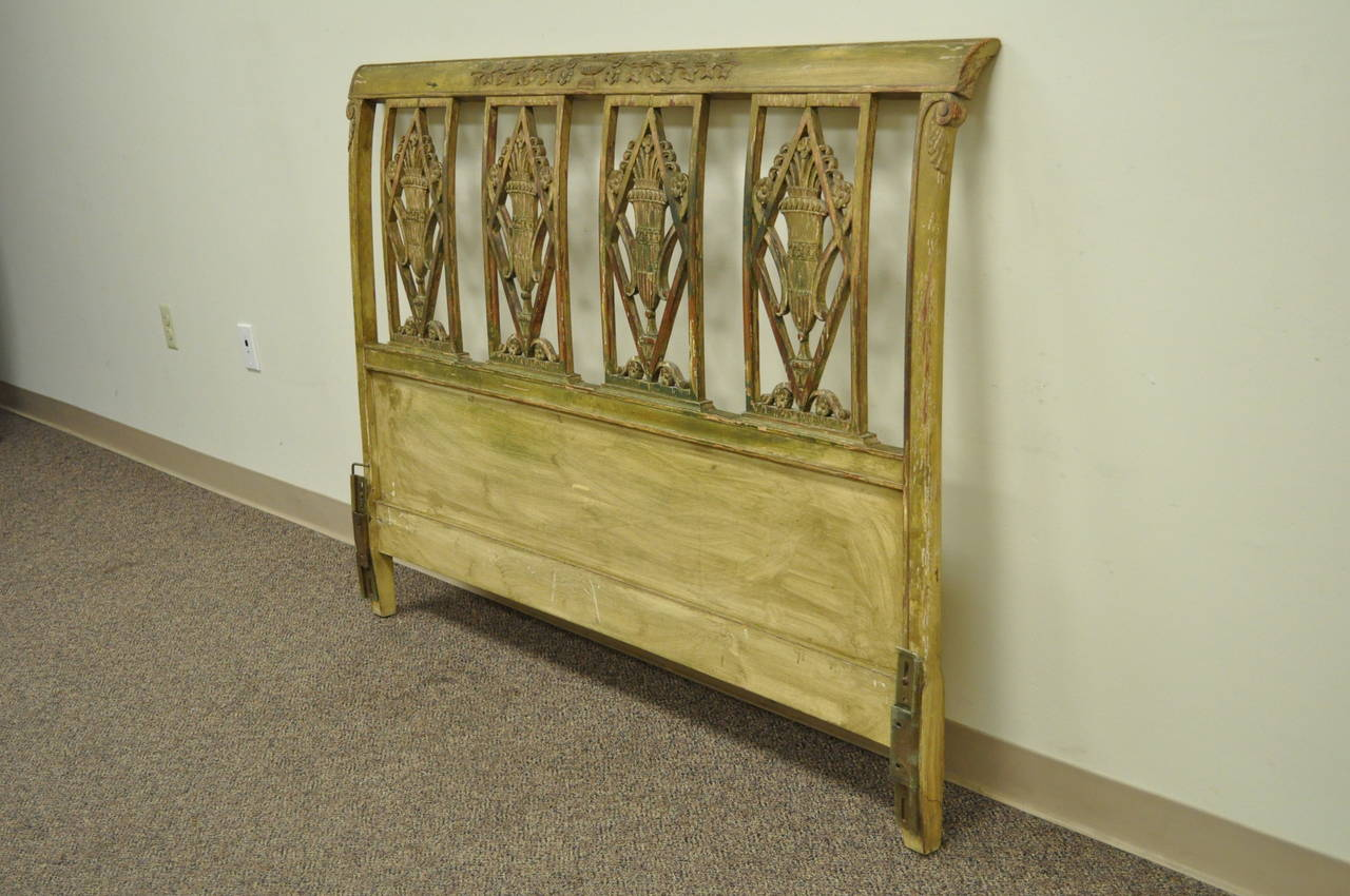 Circa 1920 39 S French Carved And Distress Painted Queen Size