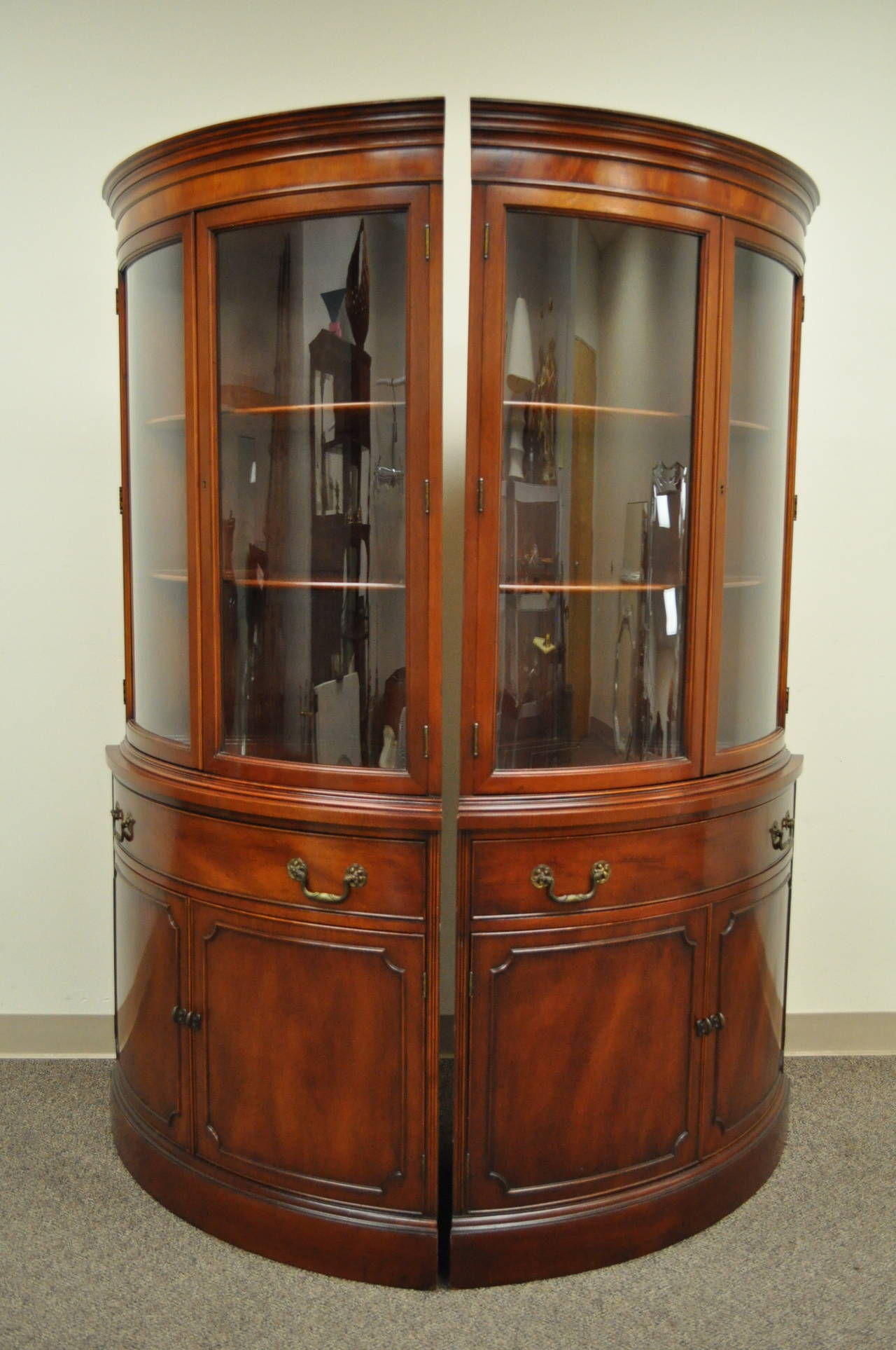 Beautiful Pair Of Mahogany Demilune Shaped Corner China Cabinets /  Cupboards. The Pair Features Two