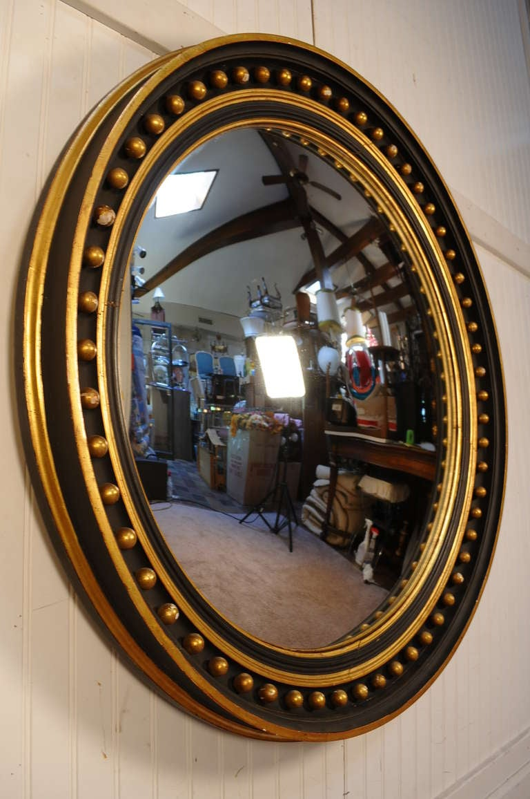 40 round convex ebonized and gold gilt wood regency for Large round gold mirror