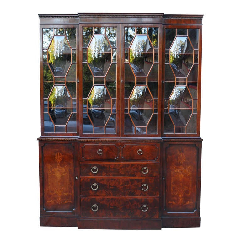 Bubble Glass Kitchen Cabinet Doors: Flame Mahogany Inlaid Regency Style Bubble Glass Bookcase