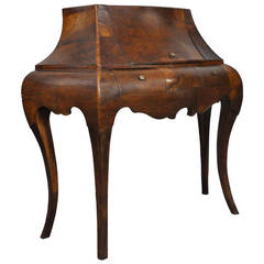 Vintage Italian Burled Patchwork Olive Wood Bombe Commode or Small Desk