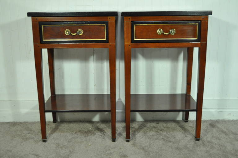 Pair Of French Country Style Cherry Nightstands End Tables Made In - French country nightstand