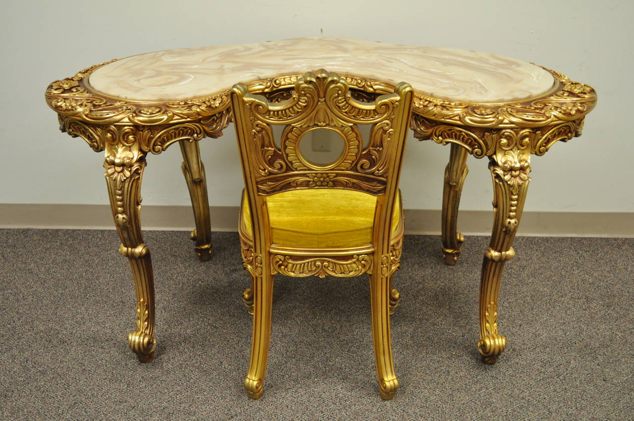 French baroque style gold gilt vanity or desk with chair for French baroque style