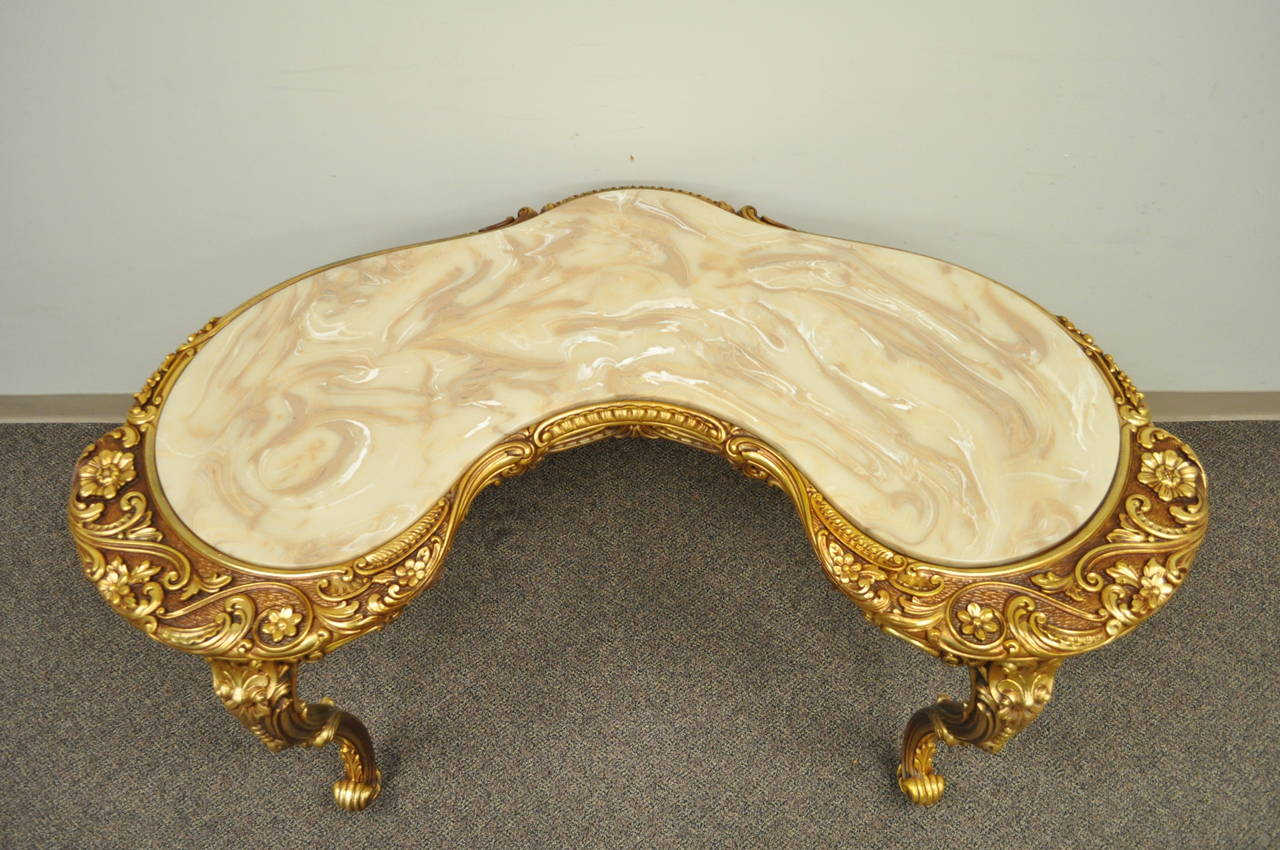 20th Century French Baroque Style Gold Gilt Kidney Vanity Desk & Chair attr. to Roma Furn.