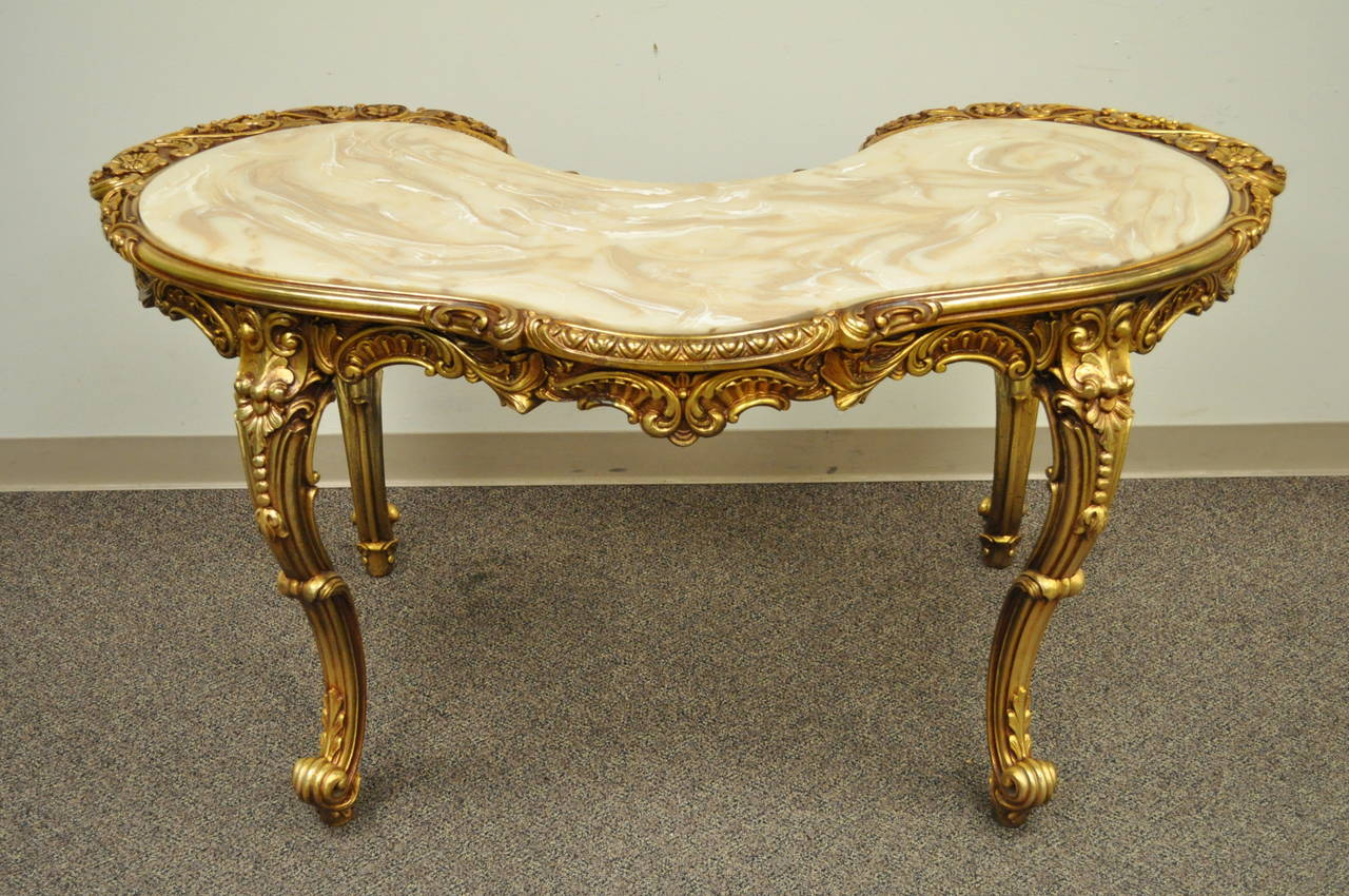 French Baroque Style Gold Gilt Kidney Vanity Desk & Chair attr. to Roma Furn. In Excellent Condition In Philadelphia, PA