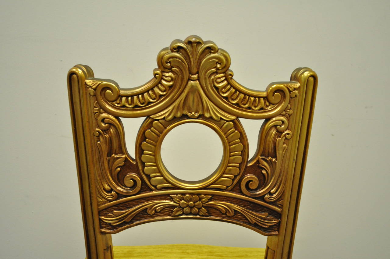 French Baroque Style Gold Gilt Kidney Vanity Desk & Chair attr. to Roma Furn. 3