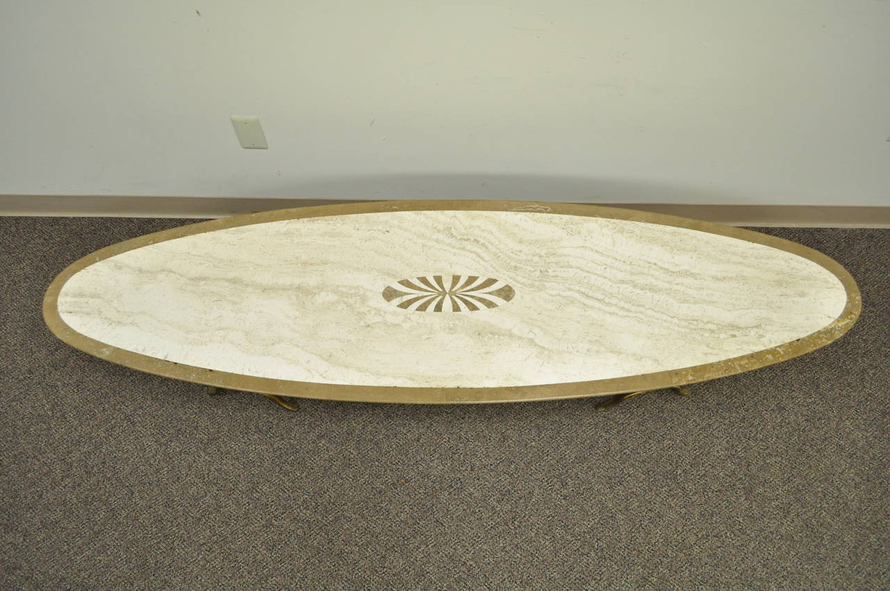Sculptural Italian Hollywood Regency Travertine And Brass Surfboard Coffee Table For Sale At 1stdibs
