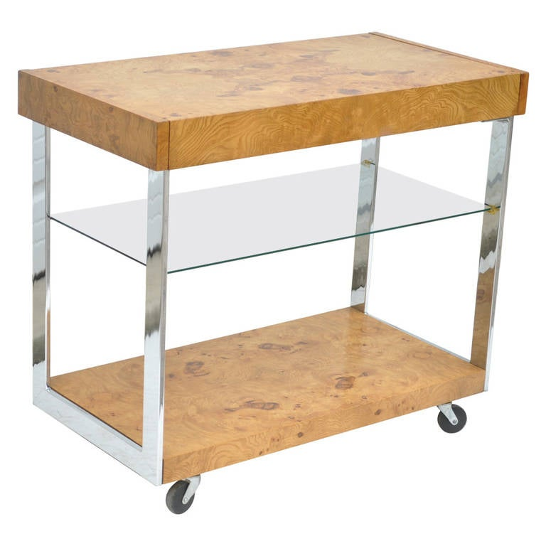 Mid Century Modern Burl Wood Chrome And Glass Bar Cart