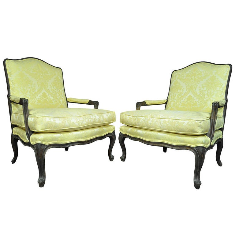Pair of Italian Carved & Distressed French Louis XV Style Fauteuils or Armchairs