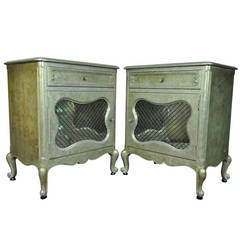 Pair of Hollywood Regency Silver and Gold Leaf Nightstands after Maison Jansen