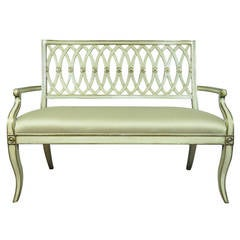 Maitland Smith Cream Painted & Gold Gilt French Neoclassical Style Carved Settee