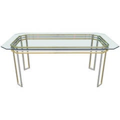 Mid Century Modern Romeo Rega Brass, Chrome, and Glass Desk or Dining Table
