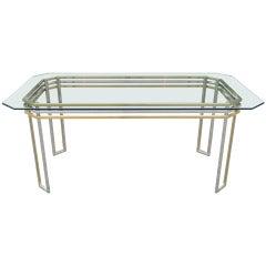 Mid Century Modern Romeo Rega Brass & Chrome Glass Top Desk or Dining Table