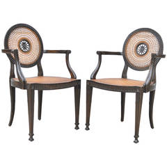 Pair of Italian Hand Carved & Distressed Medallion Back French Style Armchairs
