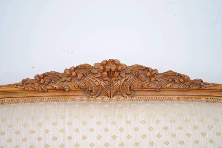 French Country or Louis XV Style Finely Carved Walnut Sofa or Canape, circa 1920 In Good Condition For Sale In Philadelphia, PA