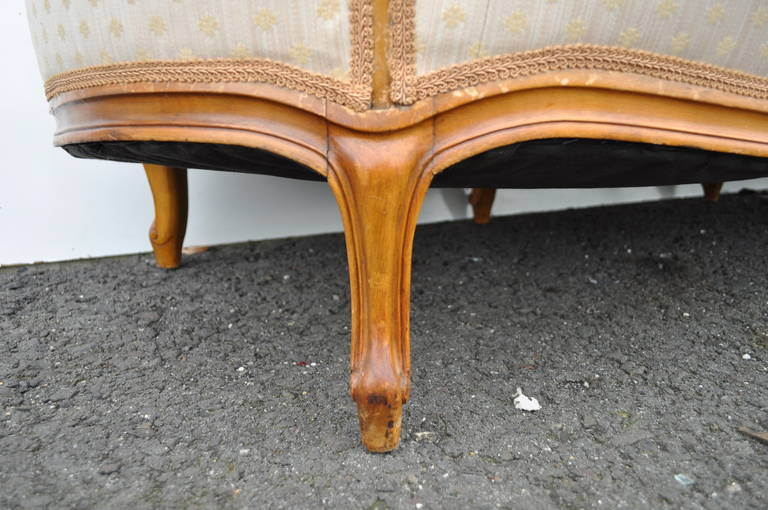 Fabric French Country or Louis XV Style Finely Carved Walnut Sofa or Canape, circa 1920 For Sale
