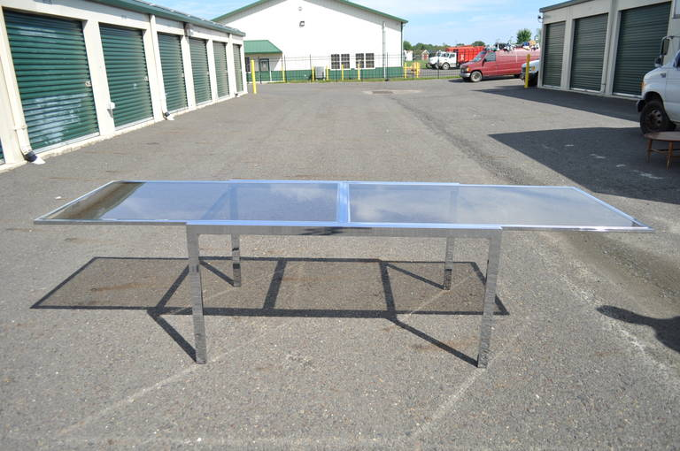Mid Century Modern Chrome Glass Extension Dining Table Attr To Milo Baughman 3