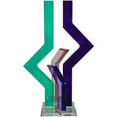 Postmodern Lucite Sculpture Statue by Shlomi Haziza Green Purple Pink Geometric