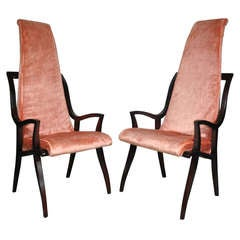 Pair of High Back Hollywood Regency Sculptural Armchairs after Dorothy Draper