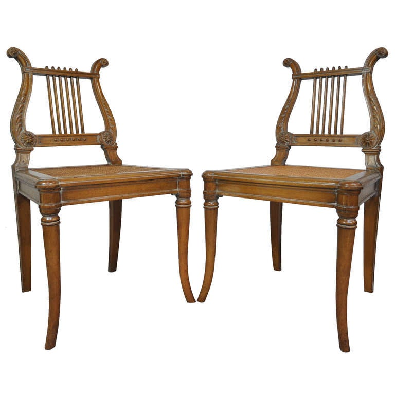 French Neoclassical Style Carved Lyre Back Italian Side Chairs Cane Seat a Pair
