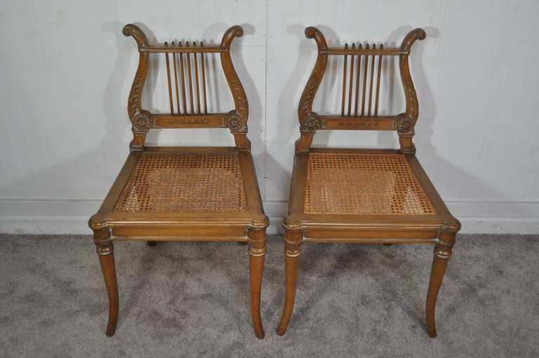 French Neoclassical Style Carved Lyre Back Italian Side Chairs Cane Seat A  Pair For Sale 5