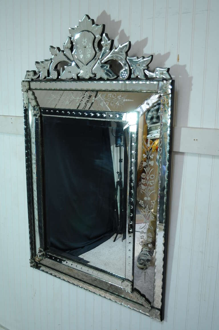 Vintage 20th century french venetian style etched glass for Antique style wall mirror