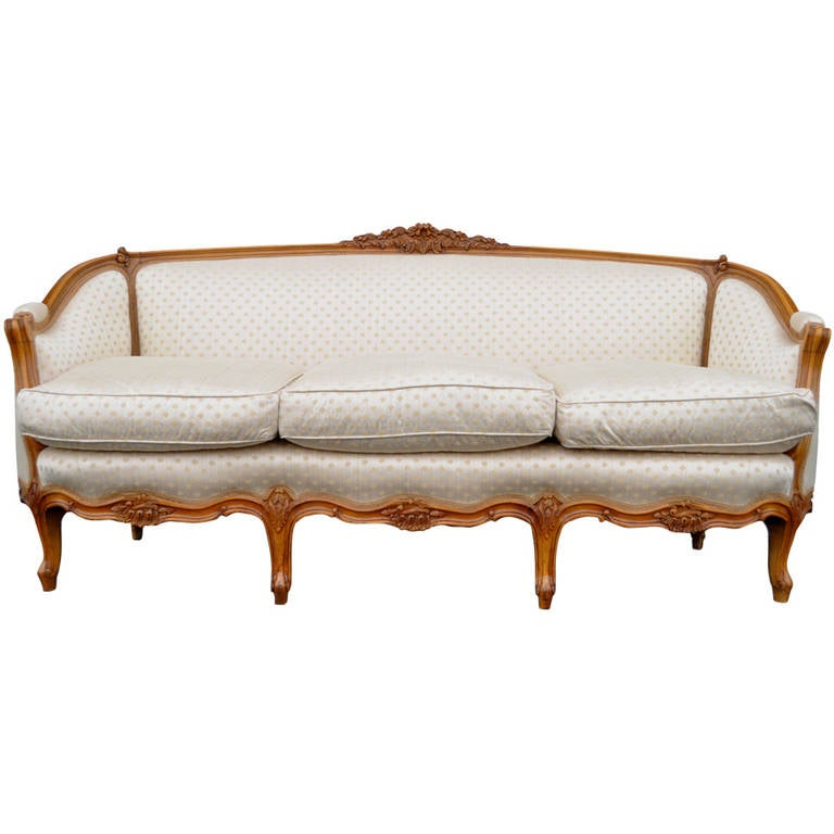 French country or louis xv style finely carved walnut sofa for Louis xv canape sofa
