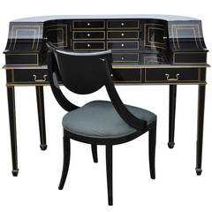 Maitland Smith Black Lacquer & Gold Regency Carlton House Style Desk and Chair