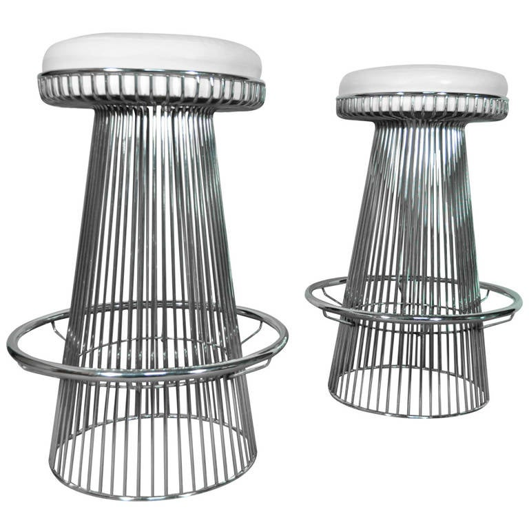 Pair Of Vintage Warren Platner Style Wire Frame Chrome Bar