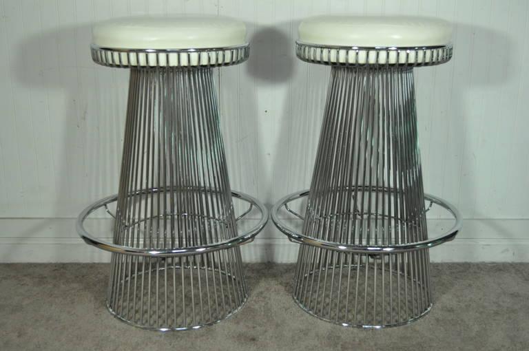 Pair Of Vintage Warren Platner Style Wire Frame Chrome Bar