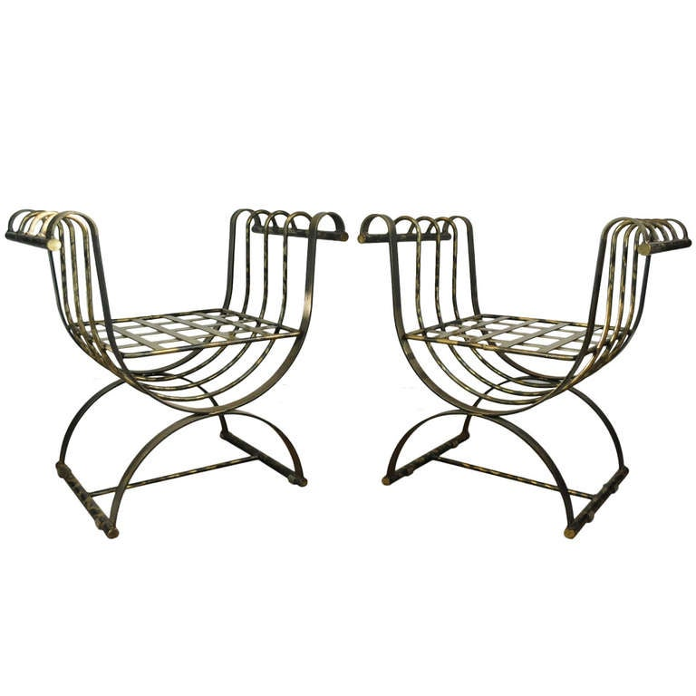 Pair of Iron Neoclassical Style Curule Throne Benches Burnished Brass Finish