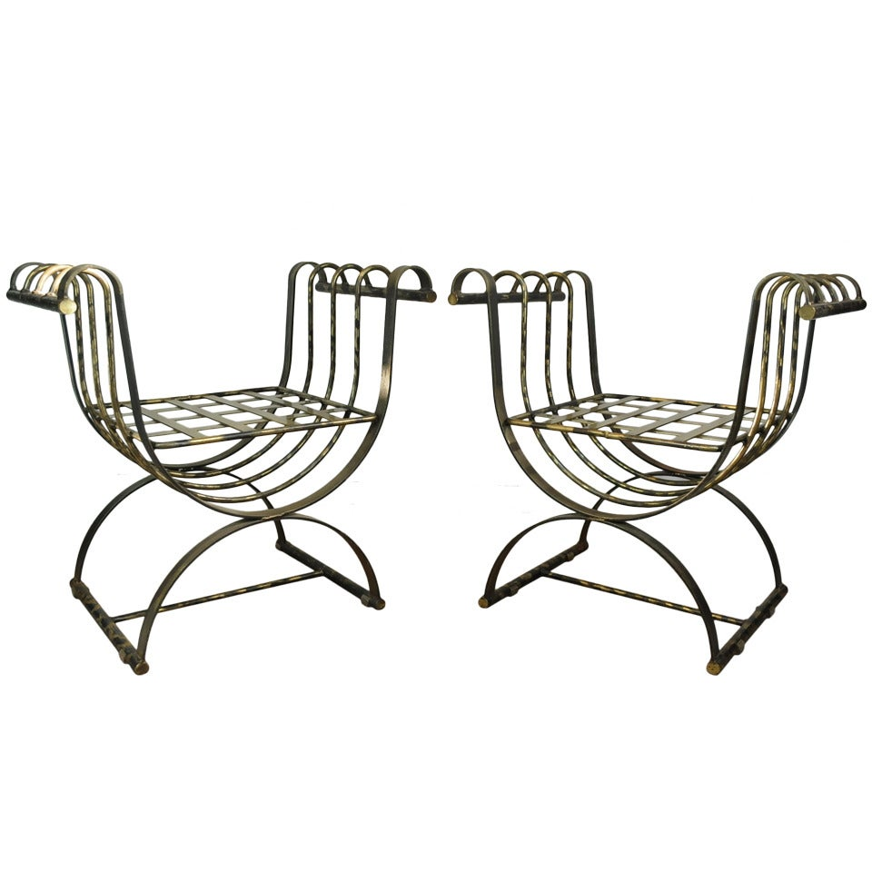 Pair of Burnished Brass Iron Italian Neoclassical Curule Throne Bench Chairs