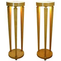Pair of Biedermeier Style Bronze Mounted Lighted Column Pedestal Stand Tables