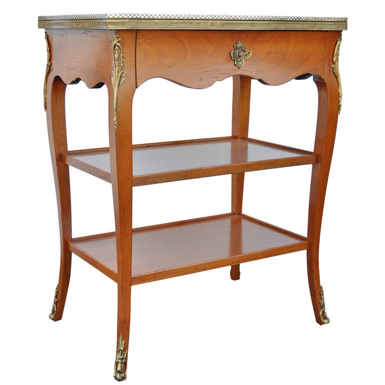 Quality French Louis XV Style One Drawer Lamp End Table with Bronze Ormolu For Sale