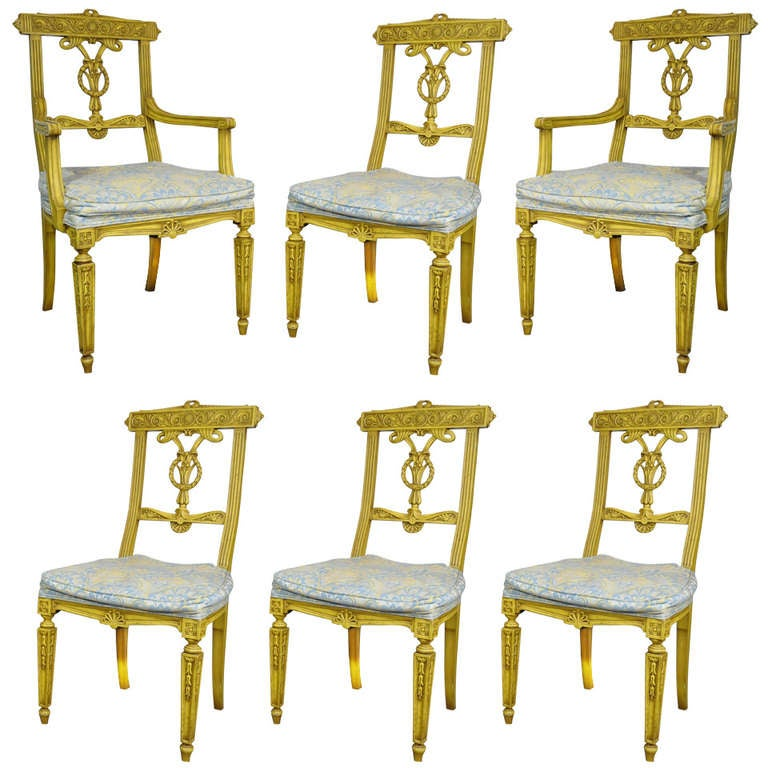 Set of 6 Yellow Painted French Regency Style Carved Dining Room Chairs
