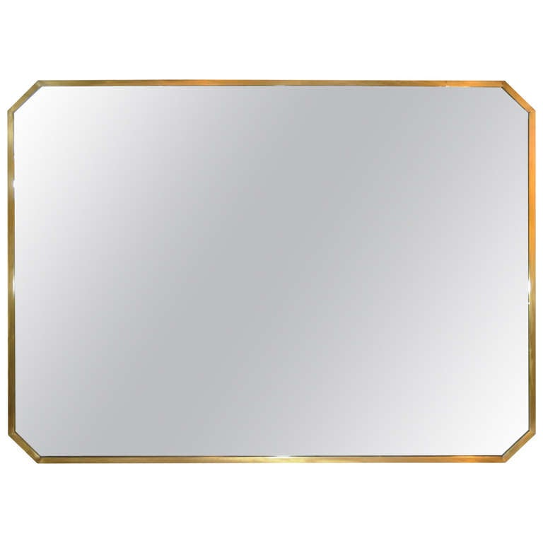 vintage mid century modern italian brass frame modernist mirror after gio ponti 1