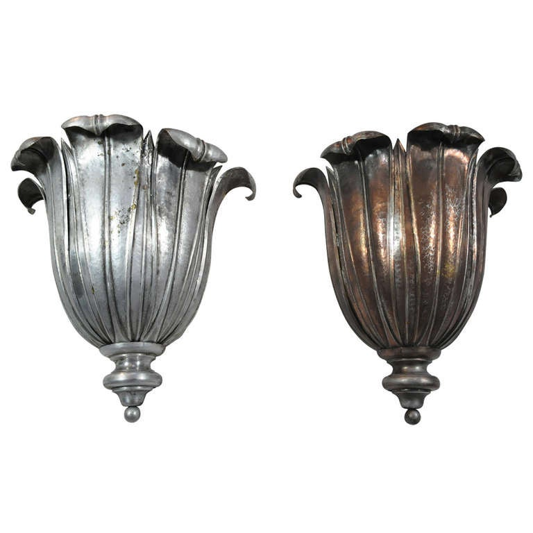 French Art Deco Hand Hammered Copper Lotus Up Light Sconces Attr Maison Jans