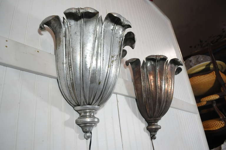 French Art Deco Hand Hammered Copper Lotus Up Light Sconces attr. Maison Jansen For Sale at 1stdibs