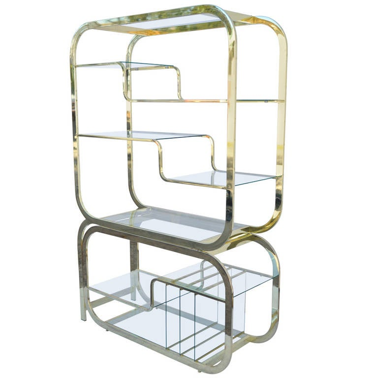 Mid Century Modern Brass And Glass Etagere With Slide Out Server For Sale