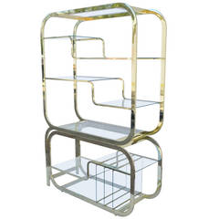 Mid-Century Modern Brass and Glass Etagere with Slide Out Server