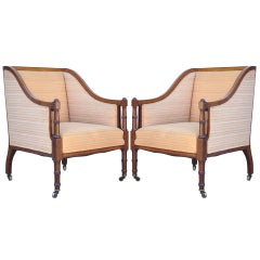 Pair of Faux Bamboo Satinwood Inlay Regency Sheraton Mahogany Club Arm Chairs