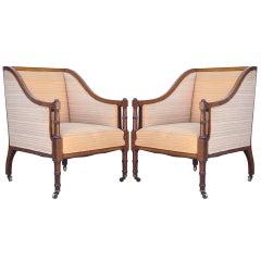 Pair of Faux Bamboo Satinwood Inlay Regency Sheraton Mahogany Club Arm Chairs