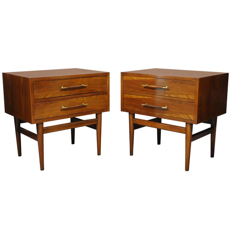 Vintage pair of american walnut banded modernist for American walnut bedroom furniture