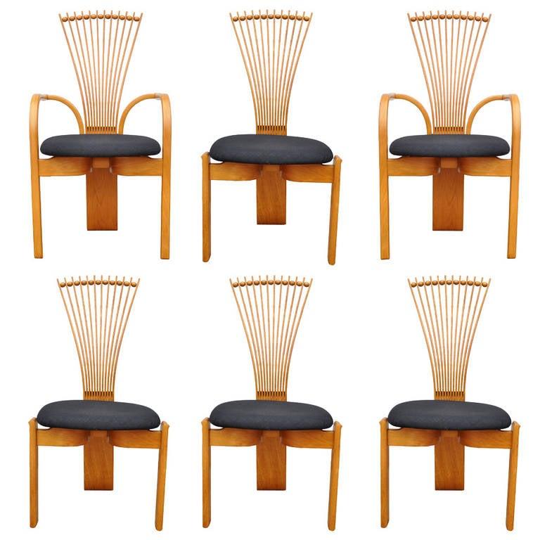 Six Danish Modern Teak Fan Back TOTEM Dining Chairs by Torstein Nilsen Westnofa