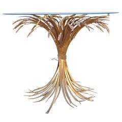 Rare Italian Hollywood Regency Sheaf of Wheat Gold Gilt Metal Center Table